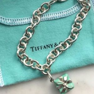 Tiffany & Co. Blue Enamel Box Charm with Bracelet